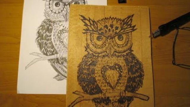 Пирография - выжигаем по дереву сову